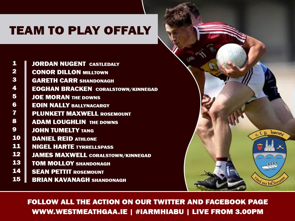 Gavin Names Westmeath Team to Play Offaly – Official